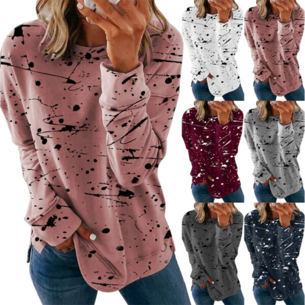Women Casual Long Sleeve Floral Printed T Shirt Blouse Loose Pullover Tunic Tops