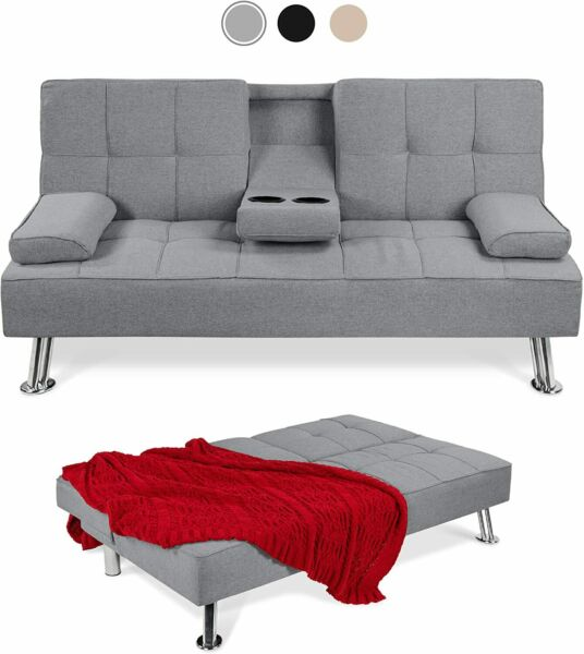 Modern Linen Convertible Futon Sofa Bed Removable Armrests Metal Legs 2Cup Gray $199.00