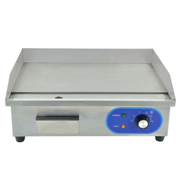Commercial Electric Griddle Iron Flat Top Countertop Bacon Eggs Grillings 1500W