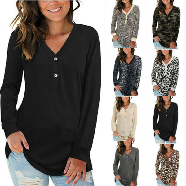 Women Long Sleeve T Shirt Buttons V Neck Casual Tops Loose Blouse Floral Tunic $17.59
