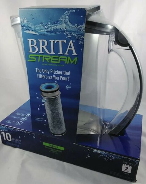 NEW Brita Stream Filter As You Pour Water Pitcher 10 cups Gray