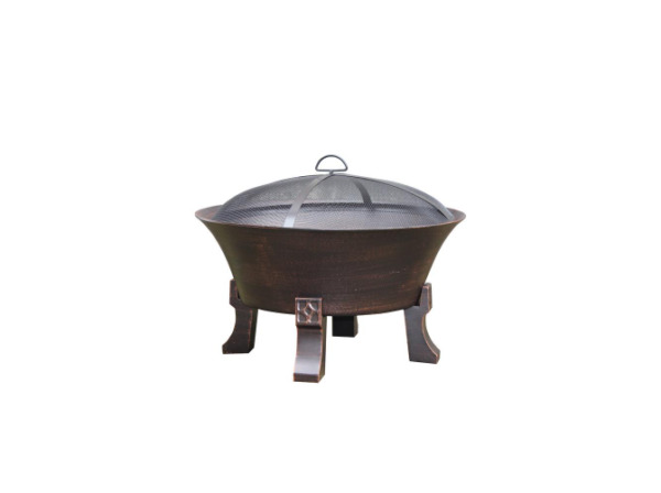 26 in. Del Oro Cast Iron Deep Bowl Fire Pit Includes Wood Grate Mesh Cover Poker