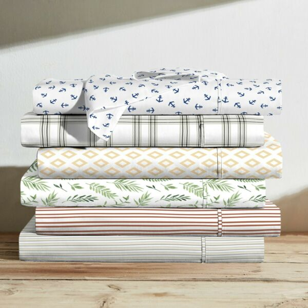 Brielle Home 100% Cotton Printed Percale Sheet Sets