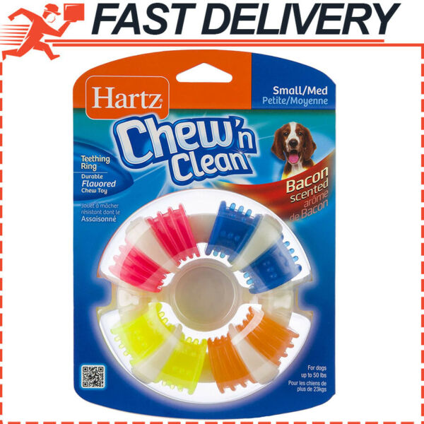 Hartz Chew n Clean Bacon Scented Dental Teething Ring Dog Chew Toy SmallMedium $8.74