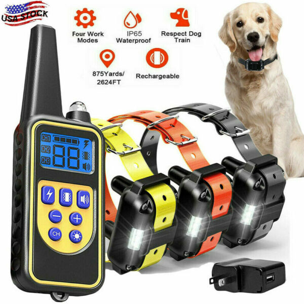 2600 FT Dog Shock Training Collar Rechargeable Remote LCD Pet Waterproof Trainer $36.24