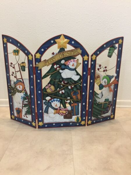 Merry Christmas Metal Snowman Fireplace Screen Cover