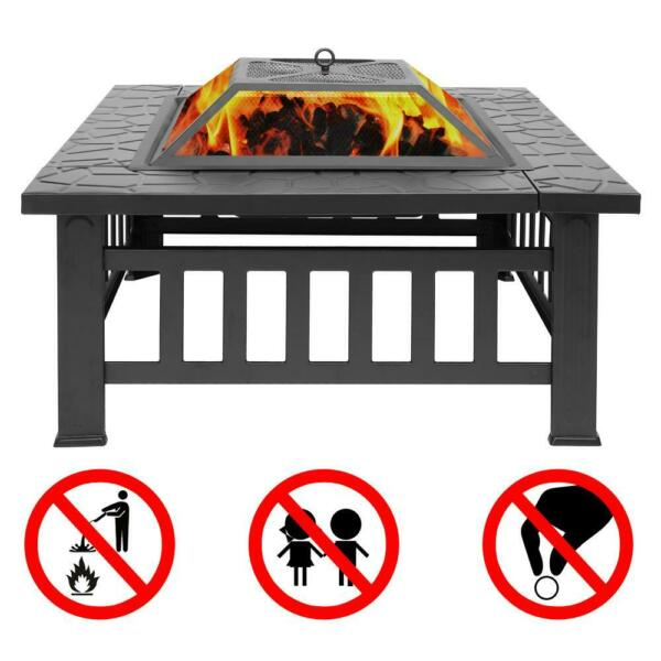 32quot; Fire Pit BBQ Square Table Backyard Patio Garden Stove Wood Burning Fireplace