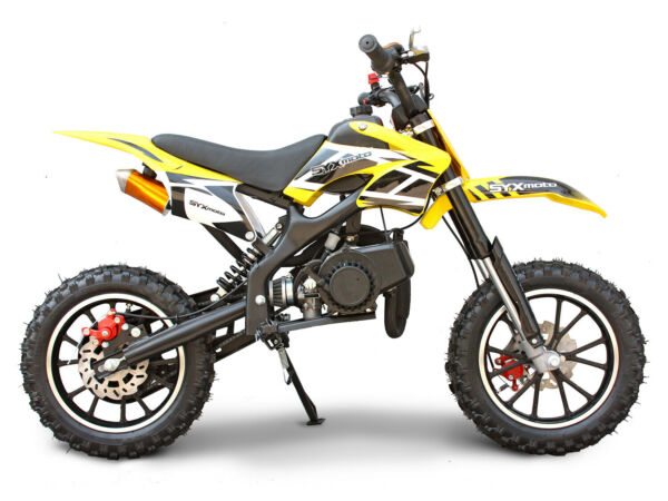 SYXMOTO Holeshot Mini Dirt Bike Gas Power 2 Stroke 49cc Motorcycle Yellow $357.50