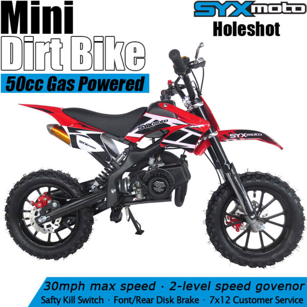 SYXMOTO Holeshot Mini Dirt Bike Gas Power 2 Stroke 49cc Motorcycle Beginner Red $357.50