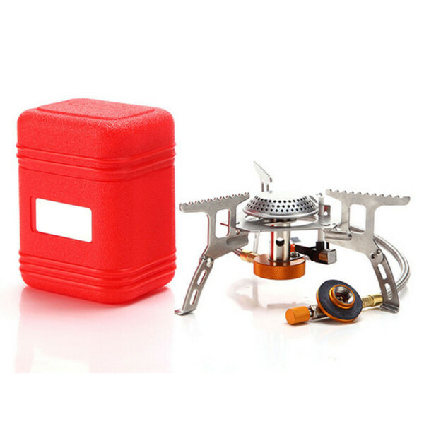 Mini 3500W Portable Outdoor Picnic Gas Burner Foldable Camping Steel Stove Case