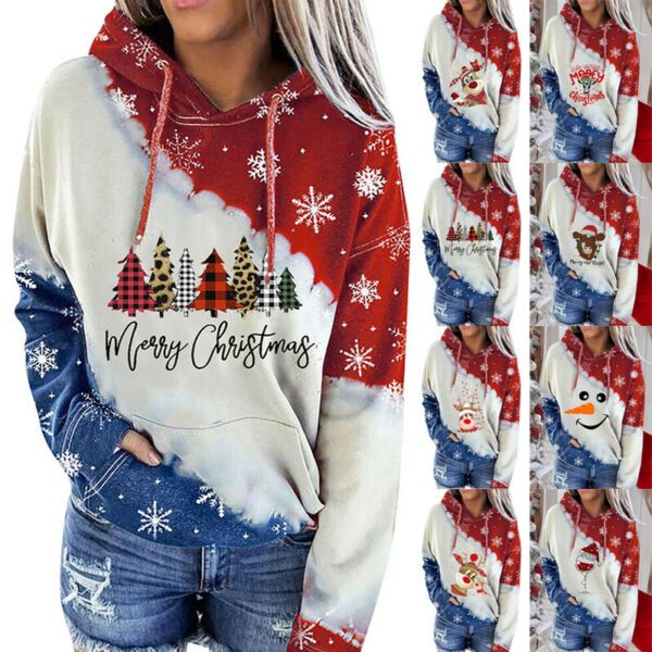 Women Christmas Long Sleeve Hooded Pullover Casual Print Blouse Loose Pocket Top $11.99