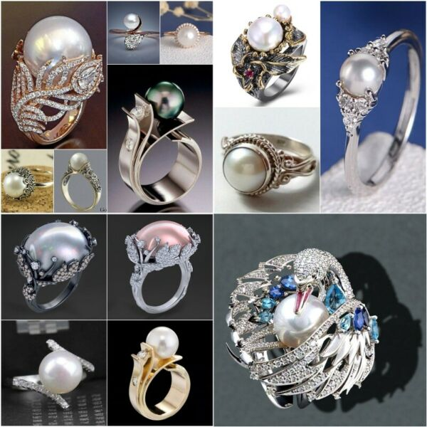 Antique White Pearl Women Wedding Engagement Ring 925 Silver Jewelry Size 6 10