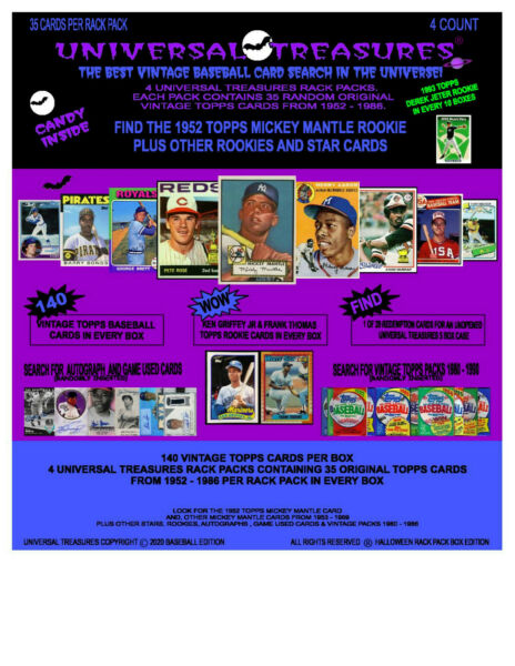 2020 UNIVERSAL TREASURES CHASE BOX FIND 1952 TOPPS MICKEY MANTLE 4 RACK PACKS $200.00