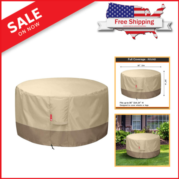 "Fire Pit SheeChung Cover Round Patio Outdoor 36"" Dia X 24""H 600d Heavy Duty $22.25"
