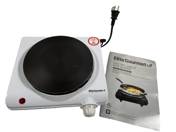 Elite Gourmet Single Electric Flat Cast Iron Heating Plate Burner Non Skid Feet