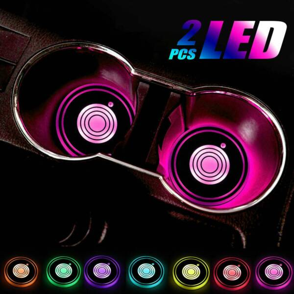 2 X LED Cup Pad Car Accessories Light Cover Interior Decoration Lights 7 Colors $8.40