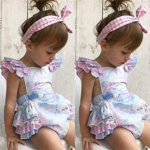 New Sweet Baby Girls Floral Romper Jumpsuit Outfits