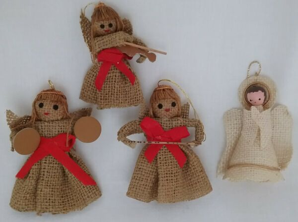 Vintage LOT of 4 Burlap Handmade Angel Ornaments with Halo amp; Instruments