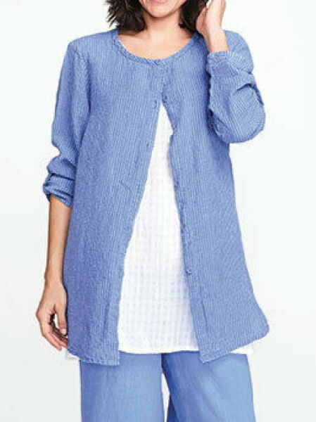 FLAX Designs Linen Cover Story Shirt L NWT Sunshine Tunic BLUE $59.99
