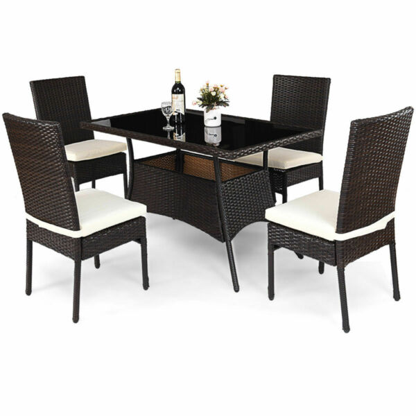 5 Piece Outdoor Patio Furniture Rattan Dining Table Cushioned Chairs Set $379.99