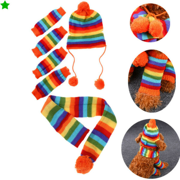 1xCute Pet Costumes Puppy Winter Warm Knit Hat Leg Cover Scarf Set for Small Pet $10.09