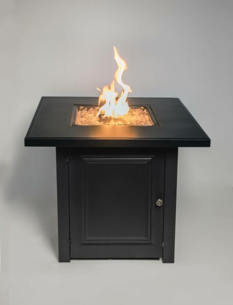 28quot; Matte Black Propane Fire Pit Table with Free Arctic Ice Glass Lid and Cove