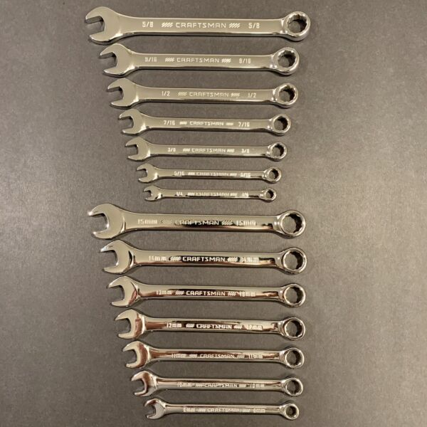 CRAFTSMAN 14 pc Combination Wrench Set. SAE amp; MM. Premium Full Polish. BRAND NEW