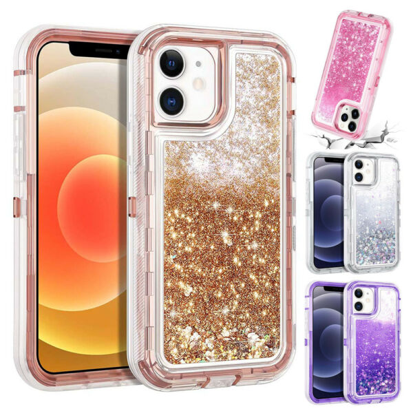 For iPhone 12 Pro 11 Pro Max Shockproof Defender Case Liquid Glitter Bling Cover