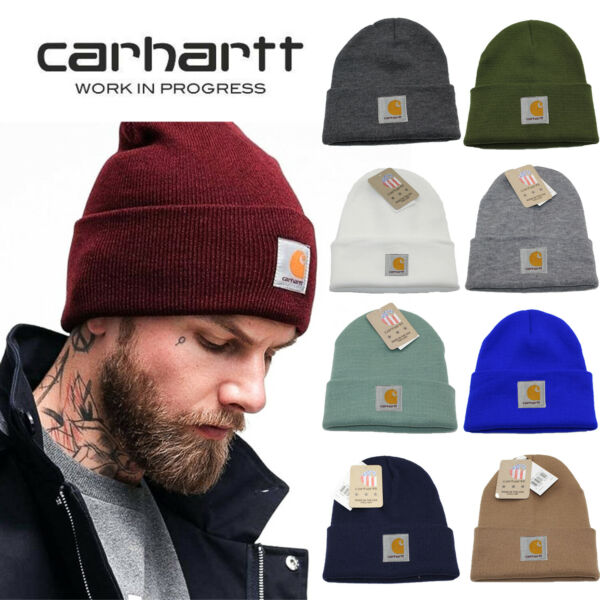 Men#x27;s Carhartt Acrylic Watch Hat Beanie Warm Stretch Knit Cap A18 Authentic Gift