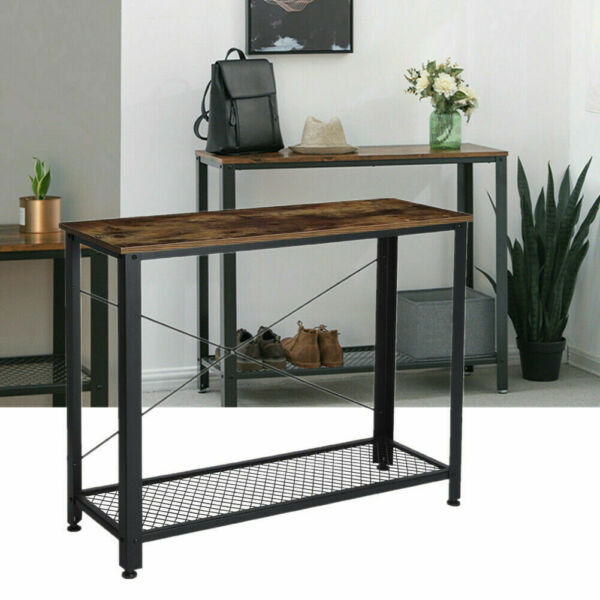 Metal Console Table Entry Way Hallway Display Sofa Table Accent Storage Stand US