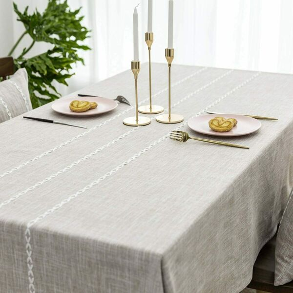 Home Brilliant Faux Burlap Tablecloth Rectangular Oblong Table Cover for Kitchen
