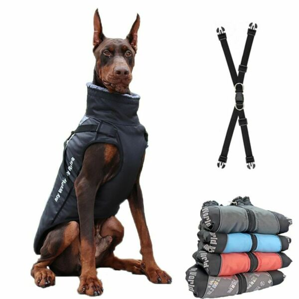 Dogs Vest Winter Warm with Collar Waterproof Big Dog Pets Clothes Coat Jacket $36.26