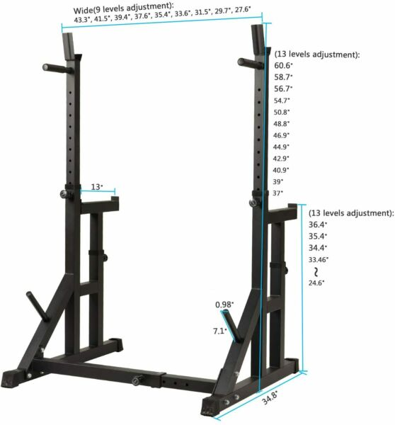 Adjustable Squat Rack Machine Power Steel Barbell Pull Down Dip Bar Bench Gym $167.99