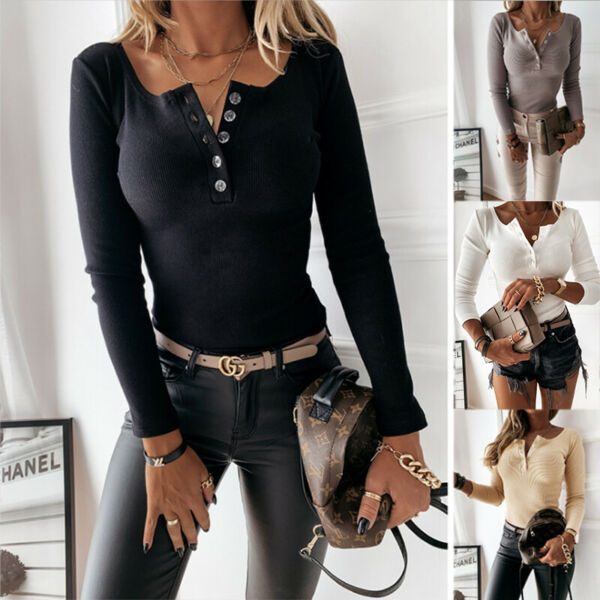 Women Casual Long Sleeve Button Slim Stretch Knit T Shirt Blouse Loose Sexy Tops $16.49