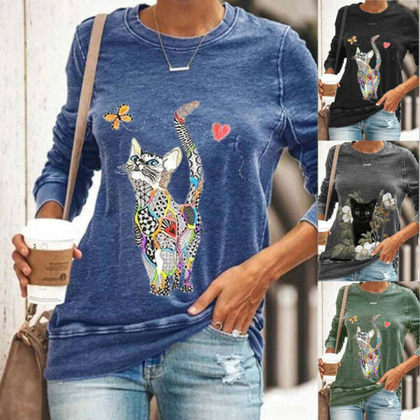 Womens Long Sleeve Lovely Cat Print T Shirt Loose Crew Neck Casual Tops Blouse $16.49