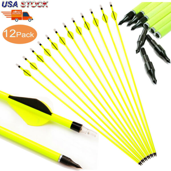 12Pcs Archery Carbon Hunting Target Arrows 30inch SP500 For Compound Recurve Bow $34.49