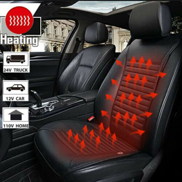 1X Car Heated Seat Cover Waterproof Synthetic Leather Car Seat Cushion Universal