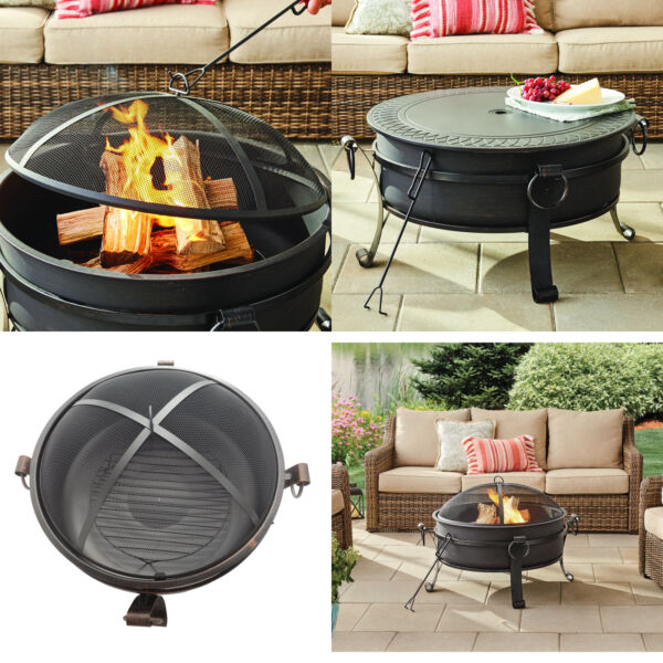 "30"" Fire Pit amp; Table Antique Bowl Universal FirePlace Mesh amp; Table Top Lid"
