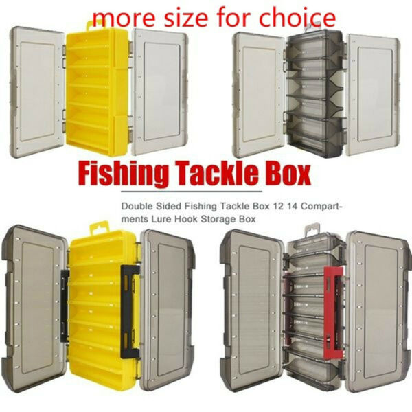 Double Sided Fishing Lure Bait Tackle Storage Box Plastic Case 14 Compartments^
