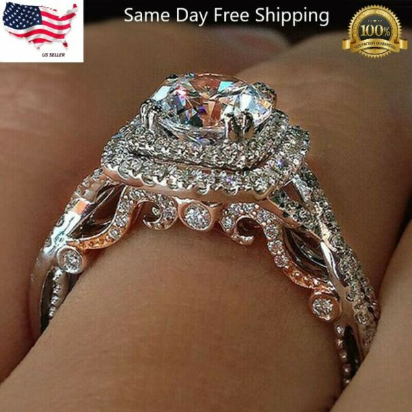 Gorgeous 925 Silver Rings Round Cut White Sapphire Women Wedding Rings Size 6 10