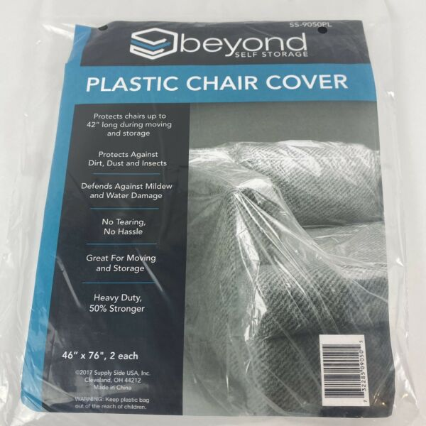2 Pack Plastic Chair Sofa Covers Size up to 46quot; x 76quot; for Moving Storage SS 9050 $11.49