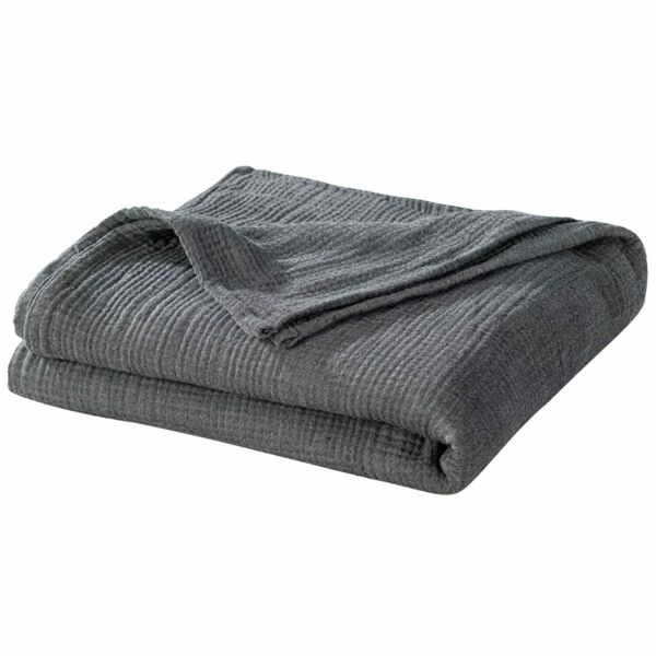 PHF Yarn Dyed Cotton Muslin Throw Adult Blanket Soft for Sofa Couch Chair in … $40.99