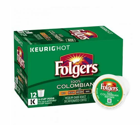 Folgers 100% Colombian Decaf K Cup Pods 12ct x8 = 96 ct NEW