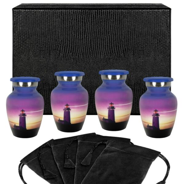 Guiding Light Small Keepsake Urn for Human Ashes Set of 4 w Case