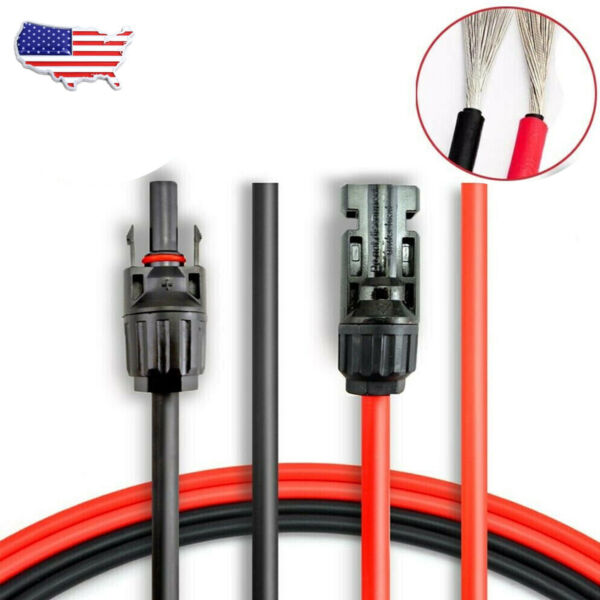 New 1 Pair Black Red Solar Panel Extension Cable Wire Connector 12 or 10 AWG