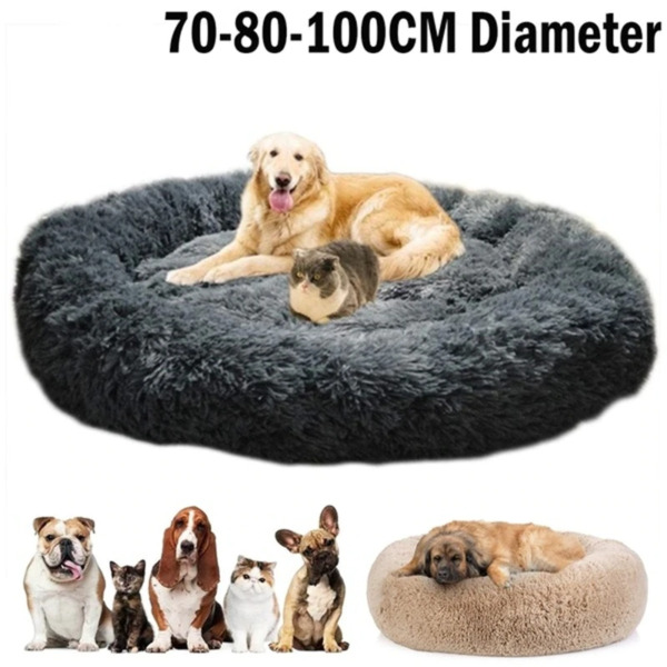Round Long Plush Dog Beds for Large Dogs XXL Cushion Super Soft Fluffy $12.85
