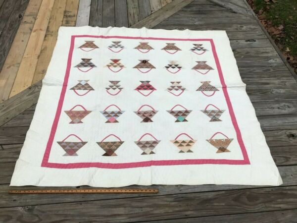 Antique Baskets Sampler Quilt Basket Red or Raspberry Browns and White