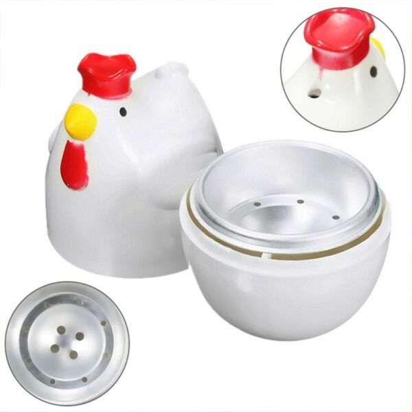 Creative Cute Chicken Shaped Egg Boiler Steamer Microwave Kitchen Cooking Tool $7.79
