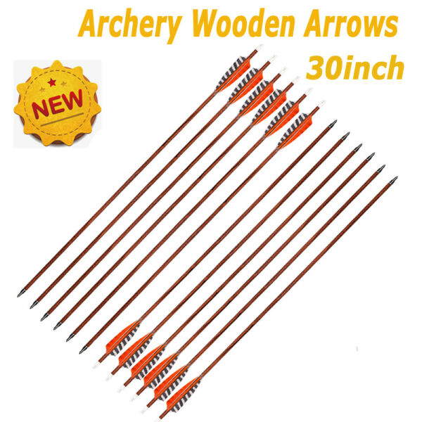 6 12x 30in Wood Carbon Arrows Real Turkey Feather for Traditional Bow Spine 400 $37.99