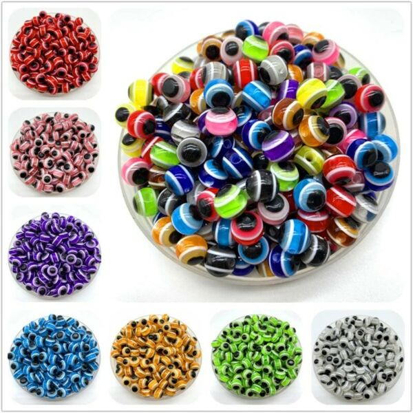 50pcs Evil Eye Beads Round Stripe Spacer Beads For Jewelry Making DIY Charms $1.99